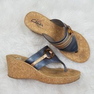 Clarks Gold Blue Thong Wedge Sandal 10M